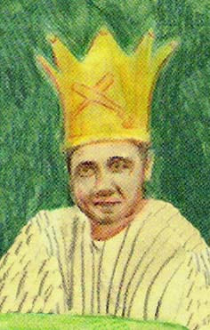 Drawing of Babe Ruth wearing a gold crown