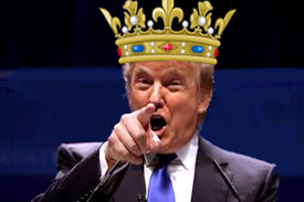 Picture Donald Trump wears a crown and points at us.
