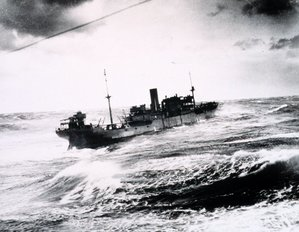 Picture A cargo ship on a stormy sea