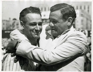 Picture Babe Ruth hugs Lou Gehrig
